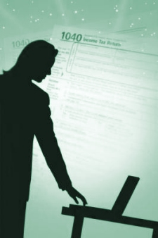 Silhouette of a man helping with years of unfiled tax returns